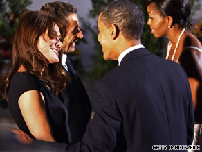In the first meeting between First Lady Michelle Obama and French First Lady Carla Bruni, Bruni asked Obama if she and President Obama had ever kept visitors waiting while they had sex, according to a new book.