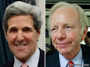  Sens. John Kerry, D-Massachusetts (left), and Joe Lieberman, I-Connecticut (right), introduced a sweeping energy and climate change bill Wednesday.