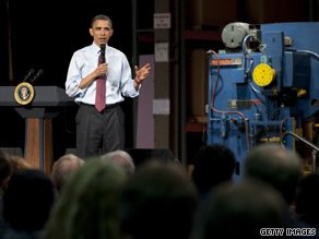 President Obama spoke to workers at a manufacturing plant in Buffalo, New York Thursday.