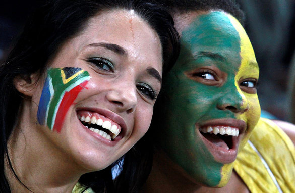 Two fans getting in the World Cup mood. (Getty Images)