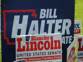Blanche Lincoln and Bill Halter are vying for the Democratic Senate nomination in Arkansas.
