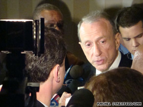 Sen. Arlen Specter speaks to reporters in Philadelphia.