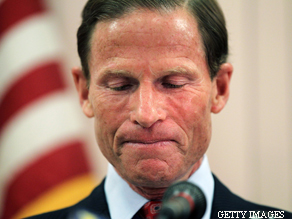 Democratic Senate candidate and Connecticut Attorney General Richard Blumenthal holds a press conference to explain discrepancies in claims that he served in Vietnam.