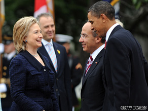 Secretary of State Hillary Clinton hosted Mexico's president at the State Department Wednesday afternoon.