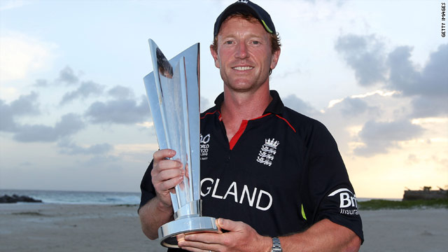 Captain Paul Collingwood proudly shows off the world 20/20 trophy after England&#039;s victory over Australia (Getty Images).