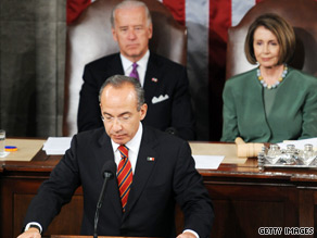 Mexican President Felipe Calderon addressed two of America&#039;s most contentious political issues during a speech to the U.S. Congress Thursday.