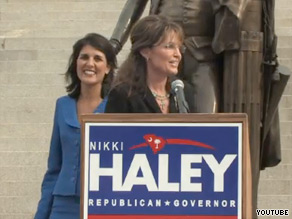 South Carolina state Rep. Nikki Haley, left, was endorsed in her gubernatorial bid by Sarah Palin.