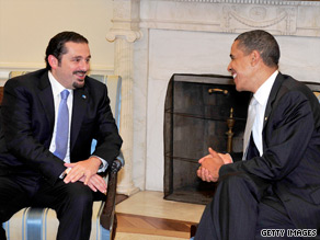 President Obama met Monday with Lebanese Prime Minister Saad Hariri.