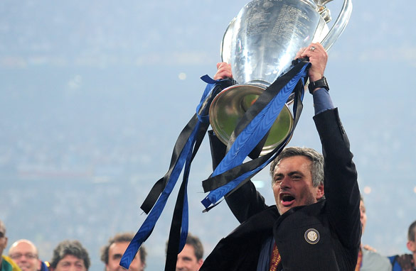 Jose Mourinho lifts the European Cup for the second time in Madrid.