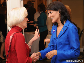 South Carolina gubernatorial candidate Nikki Haley has the backing of Gov. Mark Sanford's political allies and donors.