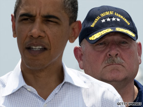 Former Coast Guard Commandant Adm. Thad Allen, pictured here with President Obama, will now handle the administration's daily briefings on his own, CNN has learned.