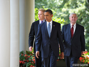 President Obama met Tuesday with the two heads of his oil spill commission, former EPA Administration William Reilly (right) and former Sen. Bob Graham, D-Florida (left).
