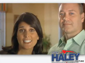 Nikki Haley, seen above in a television ad, is leading her runoff race against Gresham Barrett, a source close to Haley told CNN.