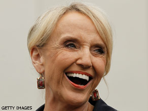 Arizona Governor Jan Brewer outside the White House after meeting with President Obama.