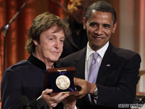 President Obama on Wednesday awarded Paul McCartney the Gershwin Prize for Popular Song - a lifetime achievement award given by the Library of Congress.