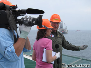CNN's Kyra Phillips takes a tour of the BP oil rig spill site with Coast Guard Admiral Thad Allen.