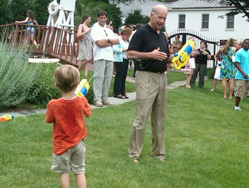 Biden couldn&#039;t escape getting drenched by squirt guns Saturday afternoon. (Sam Feist/CNN)