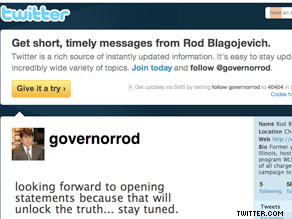 In the bio on his Twitter profile page, Rod Blagojevich proclaims that he is 'innocent of all charges'.