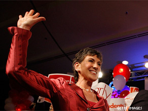 Carly Fiorina celebrates winning the GOP nomination for Senate.