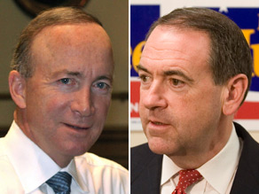 Mike Huckabee (right) is slamming Indiana Gov. Mitch Daniels (left) over his recent comments suggesting the next president should focus exclusively on fiscal problems at the expense of social issues.
