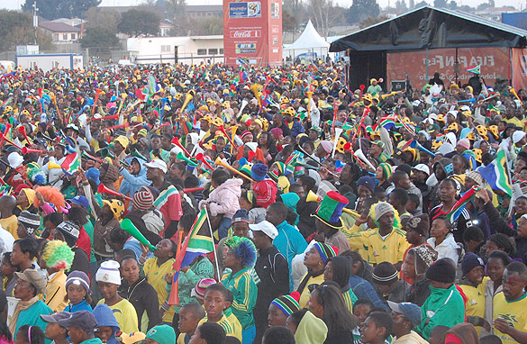 South Africans watch Friday's match on a giant screen in Soweto. Geoff Hill/CNN.