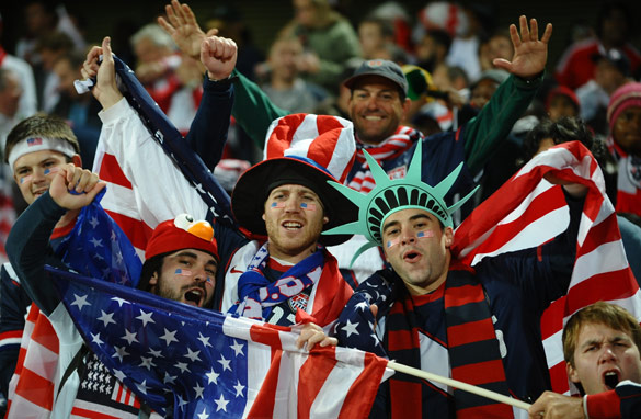 Team USA fans cheer for their team ahead of Saturday's match in Rustenberg. (AFP/Getty Images)