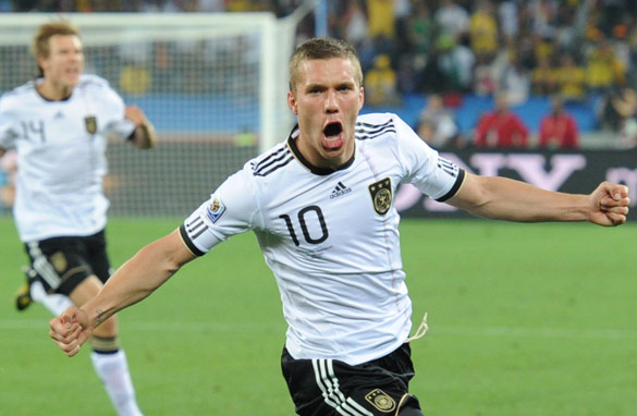Germany's striker Lukas Podolski celebrates after scoring against Australia. AFP/Getty