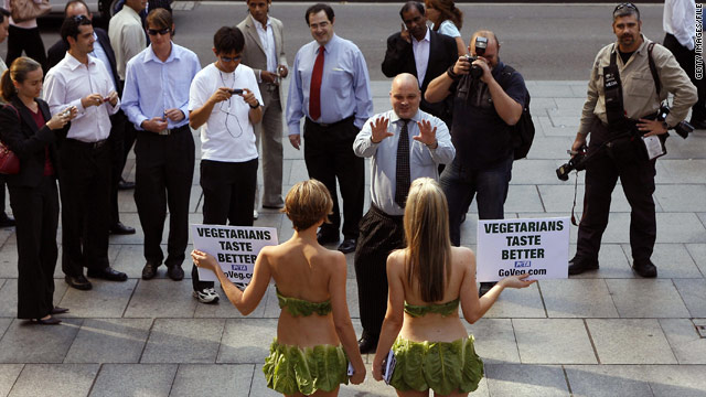 Vegetarian activists try in-your-face tactics