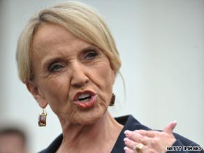 Gov. Jan Brewer of Arizona easily won her party's gubernatorial nomination Tuesday night.