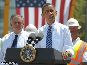 President Obama visited Columbus, Ohio Friday for a groundbreaking ceremony marking the 10,000th road construction project using stimulus money.