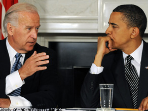 Pres. Obama and VP Biden discuss implementation of the Recovery Act, which would ramp up economic stimulus spending over the next three months in a bid to save or create 600,000 jobs through summer youth programs, schools and public works.