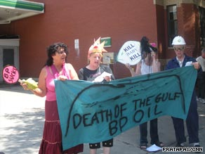 Diane Wilson, far left, and others protested in Washington Saturday outside a BP gas station.