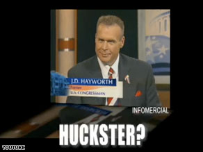 A new McCain campaign ad uses footage of J.D. Hayworth that was originally used in a 2007 infomercial.