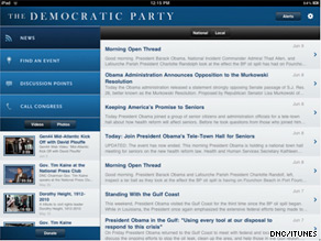 The Democratic National Committee launched its new iPad app Thursday.