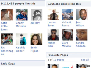  As of 8:30 a.m. ET on Friday, Lady Gaga had about 15,000 more Facebook fans than President Obama.