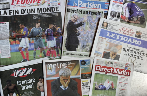 Media reaction has been fierce after France exited the World Cup at the group stages (AFP/Getty)