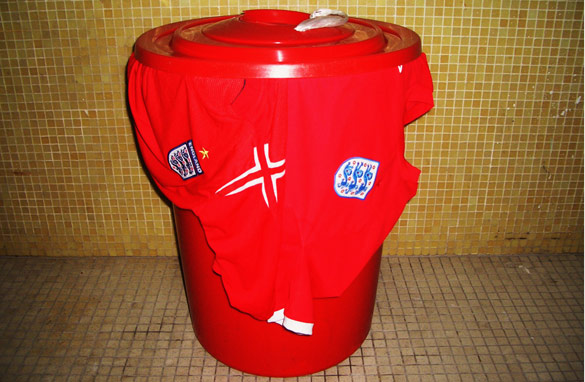 Matt Booth's England shirts find a new home – a trash can in Hong Kong (CNN)