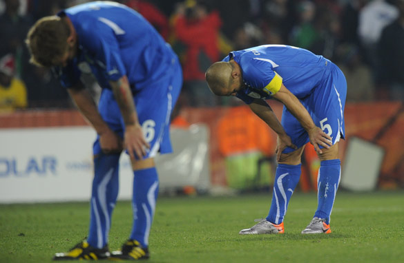 Italy&#039;s World Cup defense in South Africa ended in an early exit after an embarrassing 3-2 defeat by Slovakia. (AFP/Getty)