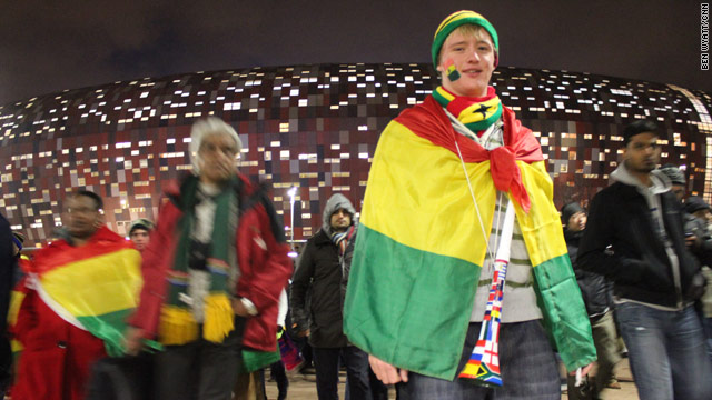 Ghana's World Cup dream is over but a large number of white South Africans turned out to support the west Africans.