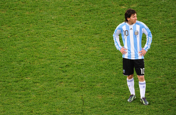 Lionel Messi was forced to play in a deeper role for Argentina than he does for his club Barcelona. (AFP/Getty Images)