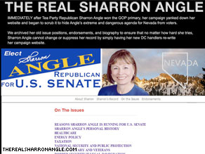 Nevada Democrats have re-posted a website of information that was originally posted on Sharron Angle's pre-primary website.