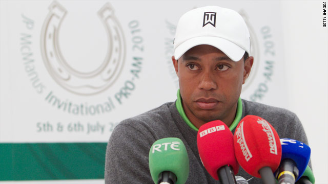 Tiger Woods hardly seemed to relish his appearance in front of the media in Ireland.
