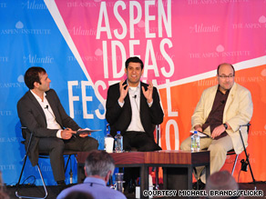 Craigslist founder Craig Newmark (right) at the Aspen Ideas Festival on Thursday.