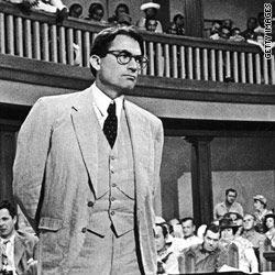 "Gregory Peck in a scene from the film version of ""To Kill a Mockingbird"""