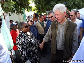 Former President Clinton visited Haiti soon after January&#039;s earthquake.  He returns Monday.