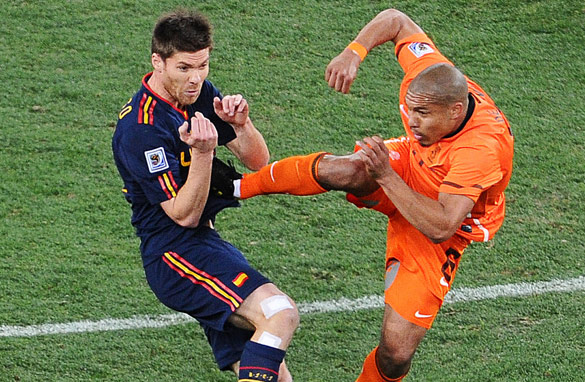 Nigel de Jong&#039;s high tackle on Xabi Alonso was one unsavoury moment in a fiery World Cup final. (AFP/Getty Images)