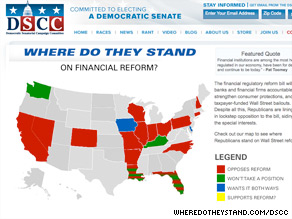 A new Democratic Senatorial Campaign Committee website aims to put Republicans in races across the country on the hook for not backing Wall Street reform legislation.