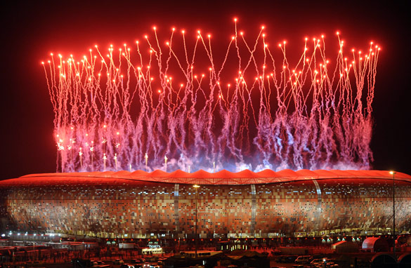 South Africa's Soccer City provided a stunning closing ceremony for the 2010 World Cup. (AFP/Getty Images)
