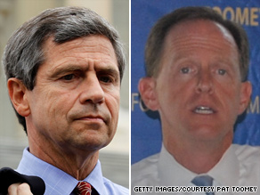 A new poll has the race for Pennsylvania's  open Senate seat locked at 43 points each for Democrat Joe Sestak (left) and Republican Pat Toomey (right).