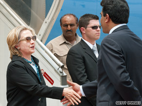 U.S. Secretary of State Hillary Clinton arrived in Pakistan early Sunday for a visit aimed at improving relations between the two nations.
